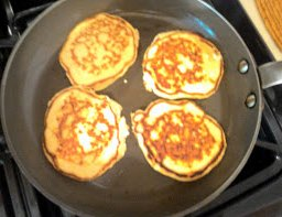 Cottage cheese pancake in pan