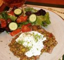 Lentils herbs ham egg hat