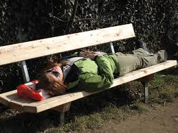sleeping on bench